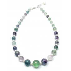 SOLD! Extra Large Fluorite & Freshwater Pearl Necklace