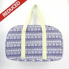 Navy Elephant  Canvas Weekender bag - Large