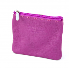 Small Italian Leather Coin Purse in  Dark Pink