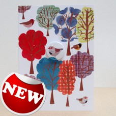 Finch & Forest Greetings Card with Badge