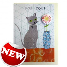 Cat 'For You' Greetings Card & Badge