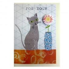 Cat 'For You' Greetings Card & Badge