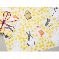 Bunny Rabbits & Daffodils Gift Wrap  (1 sheet) with Organza Ribbon and Kraft Gift Label