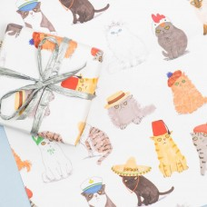 Cats in Hats Giftwrap Set (1 sheet) with Organza Ribbon and Kraft Label