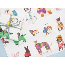 Dog and Cat Dress-Up Gift Wrap Set (1 sheet) with Organza Ribbon and Kraft Gift Label