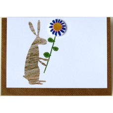 Rabbit Flower Badge Greetings Card