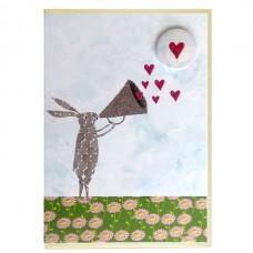 Rabbit Megaphone Greetings Card with Badge