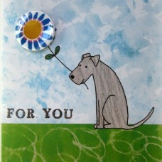 Dog 'For You' Greetings Card & Badge