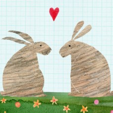 Rabbit and Heart Card