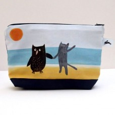 SOLD! Owl & The Pussycat in the Sun Cosmetic Purse