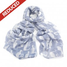 OUT OF STOCK Light Grey/Blue Cat Scarf