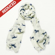 Cream Dog Print Scarf