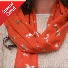 Burnt Orange Foiled Butterfly Scarf