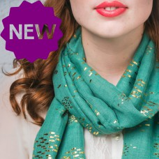 Green Foiled Fishes Scarf