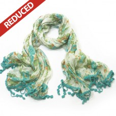 Floral Scarf with lace tassels