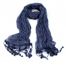 BLACK Dotty Scarf with Tassels