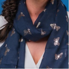 Navy Foiled Butterfly Scarf