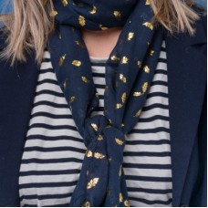 Navy Foiled Oak Leaf Scarf