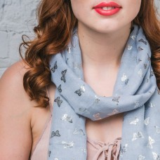 SOLD! Grey Silver 'Foiled' Butterfly Scarf-ONLY 1 left!