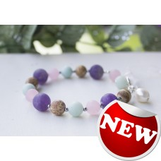 SOLD! Matte Amazonite Amethyst Mixed Gemstone Bracelet -STERLING SILVER