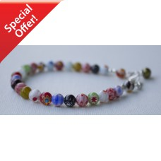 SOLD! Millefiori Glass Bracelet -Sterling Silver