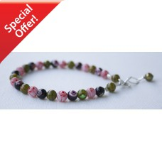 SOLD! Olive Red & Black Millefiori Bracelet STERLING SILVER