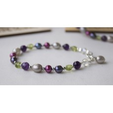 SOLD! Grey & Red Freshwater Pearl Amethyst & Peridot Nugget Bracelet -STERLING SILVER