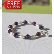 Amethyst and Freshwater Pearl Bracelet -STERLING SILVER