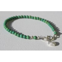 Matte finish  Chinese Turquoise Bracelet- Sterling Silver