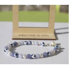 Freshwater Pearl, Blue Chalcedony , Lavender Aquamarine and Patterned Agate Bracelet  -STERLING SILVER