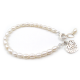 Freshwater Pearl Bracelet with filigree heart charm Silver