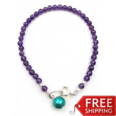 Amethyst Bracelet with Turquoise Pearl Sterling Silver
