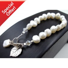 Freshwater Pearl Bracelet & veined leaf charm SILVER - Bracelets by Aubergine Designs