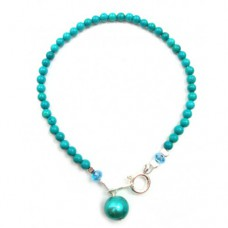 Turquoise and Pearl Bracelet - Sterling Silver