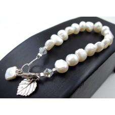 Freshwater Pearl Bracelet & veined leaf charm SILVER