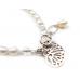 Freshwater Pearl Bracelet with filigree heart charm Silver - Bracelets by Aubergine Designs