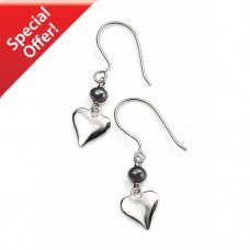Heart Earrings with Freshwater Pearl Sterling Silver