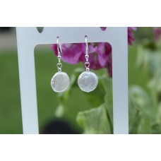 Large Coin Pearl Earrings - Sterling Silver