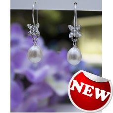 Grade AAA  Ivory Pearl Earrings - Sterling Silver