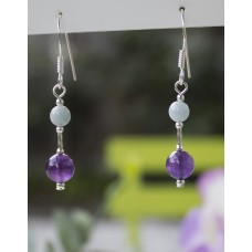 Amethyst and Aquamarine Earrings -STERLING SILVER