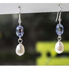 Freshwater Pearl And Cornflower Blue Swarovski Earrings - STERLING SILVER