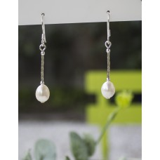Long Freshwater Pearl Earrings STERLING SILVER
