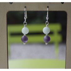 SOLD! Matte Amethyst & Amazonite Earrings STERLING SILVER