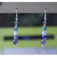 SOLD!! Amethyst and Millefiori Glass Earrings STERLING SILVER