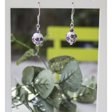 Chinese Porcelain Earrings with Amethyst -STERLING SILVER