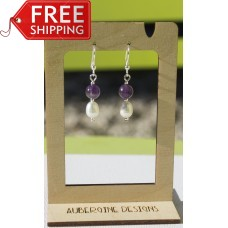 Amethyst and Freshwater Pearl Earrings-STERLING SILVER