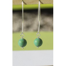 Long Matte Chinese Turquoise Earring  -Sterling Silver