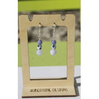 Blue Lace Agate Patterned Agate and Lavender Aquamarine Earrings -Sterling Silver