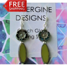 Long Czech Glass Earrings -  Olive and Teal -Sterling Silver