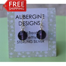 Faceted Heat Treated Amethyst Earrings Sterling Silver
